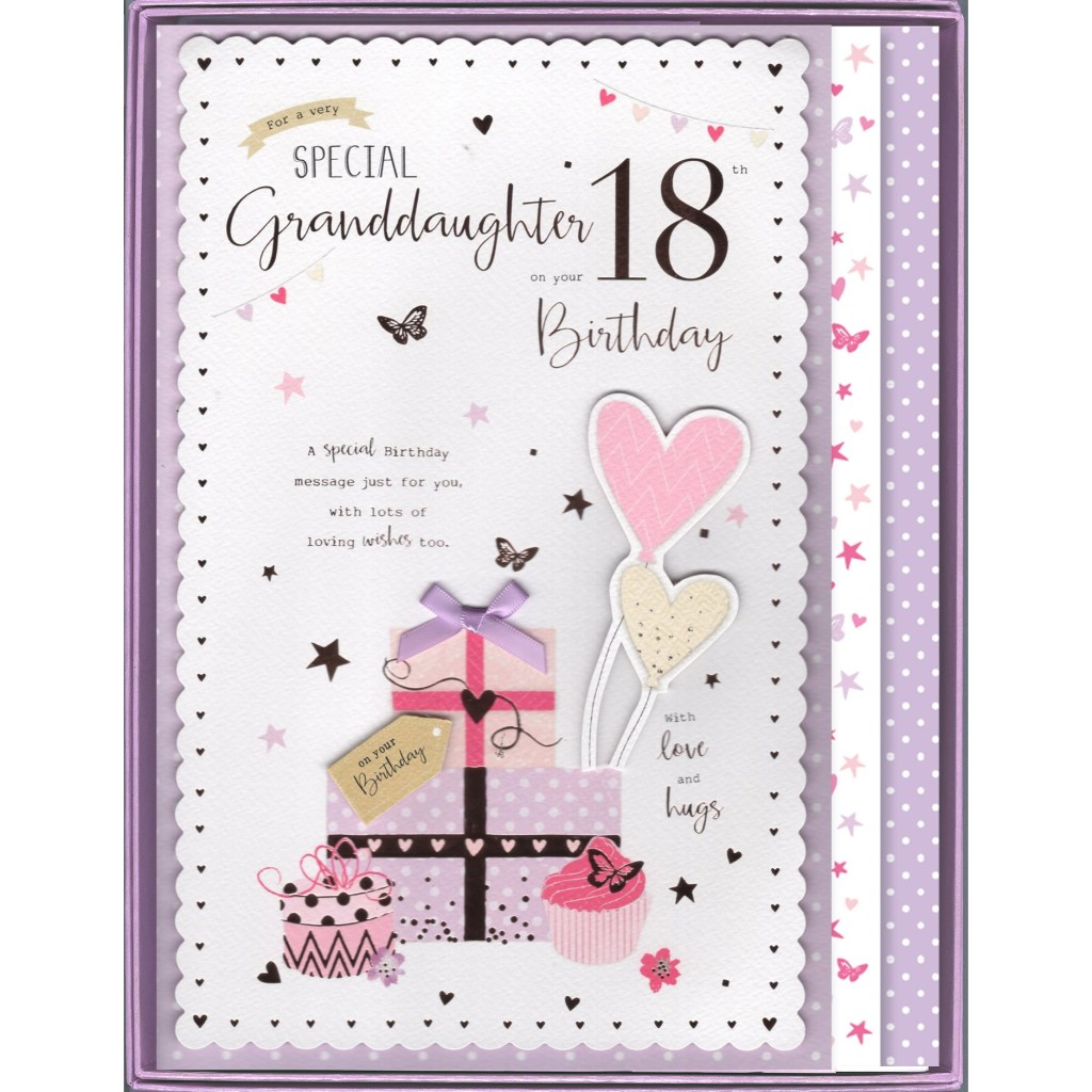 granddaughter 18th birthday boxed card 8485