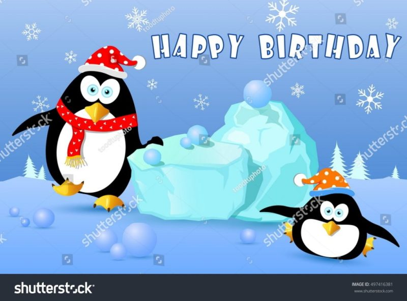 happy birthday card penguin on snow stock vektorgrafik