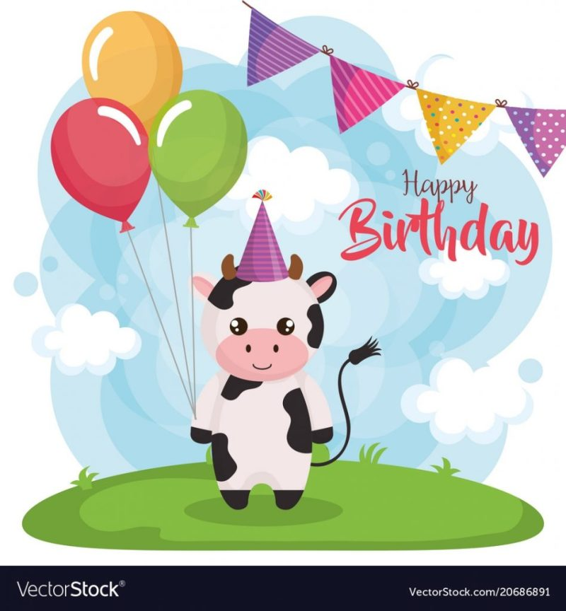happy birthday card with cow