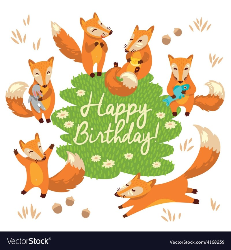 happy birthday card with cute foxes in