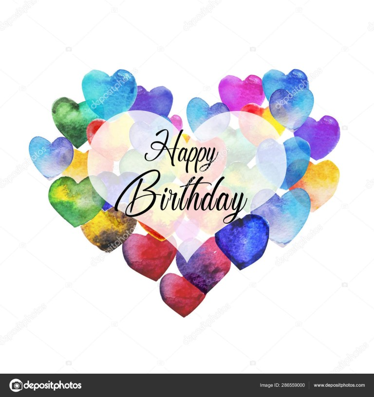 happy birthday gift card art illustration stock photo