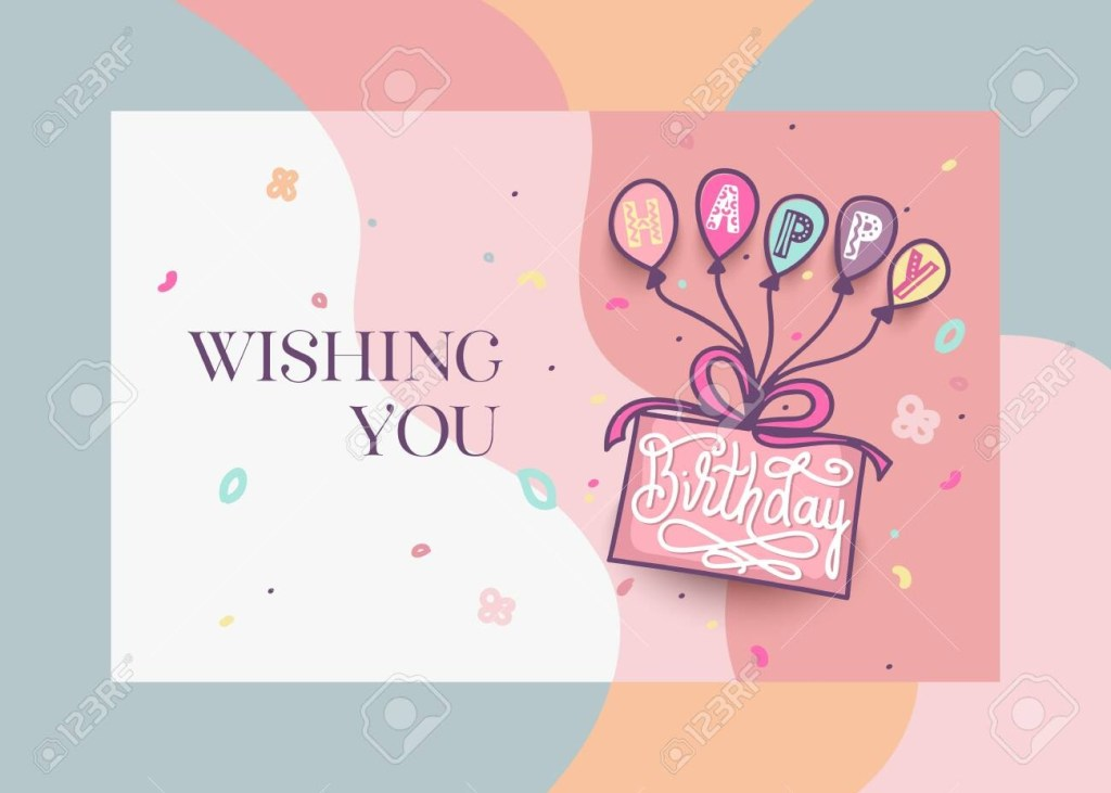 happy birthday greeting card design with cake colorful balloons