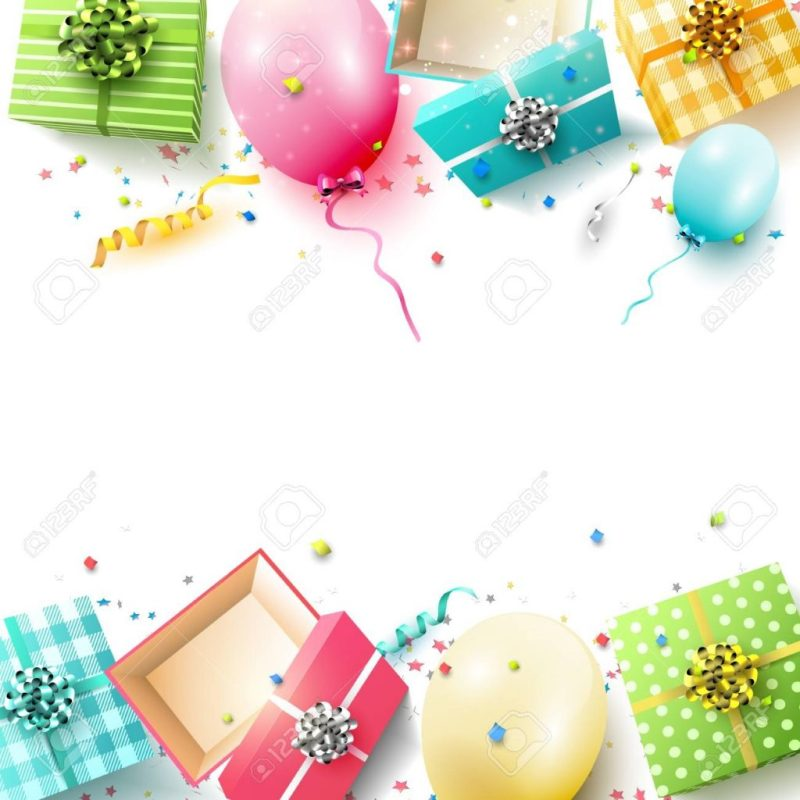 happy birthday greeting card with colorful gift boxes and birthday