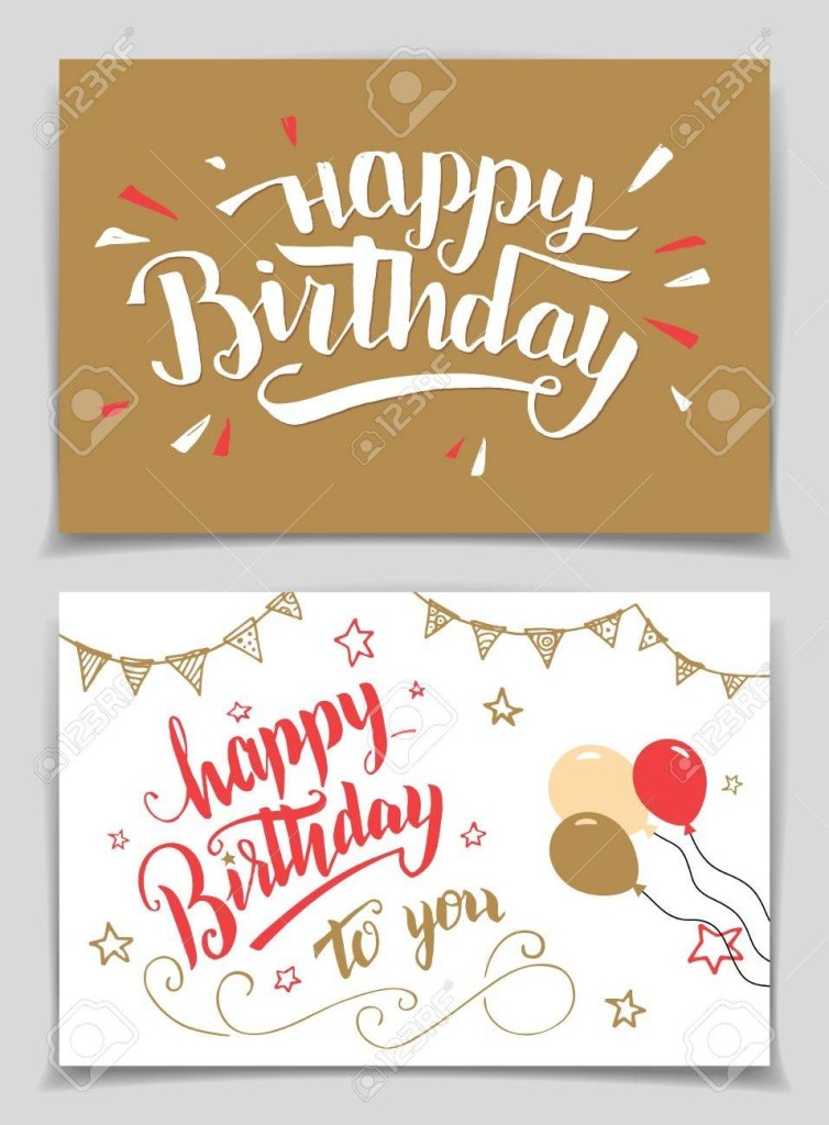 happy birthday greeting cards set brush calligraphy
