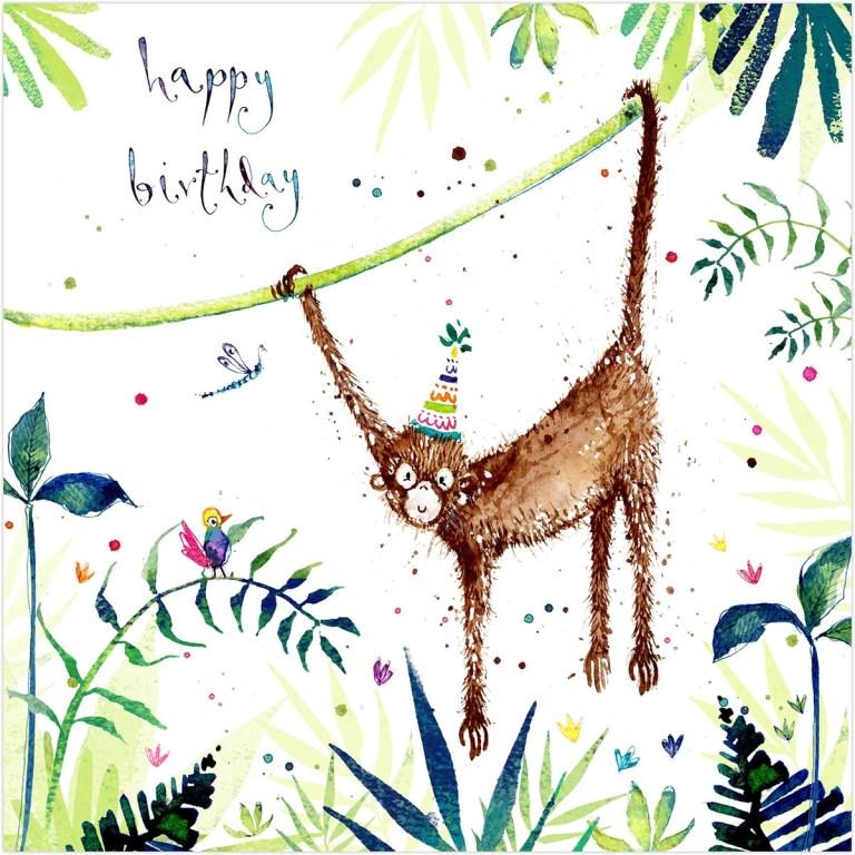 monkey happy birthday card