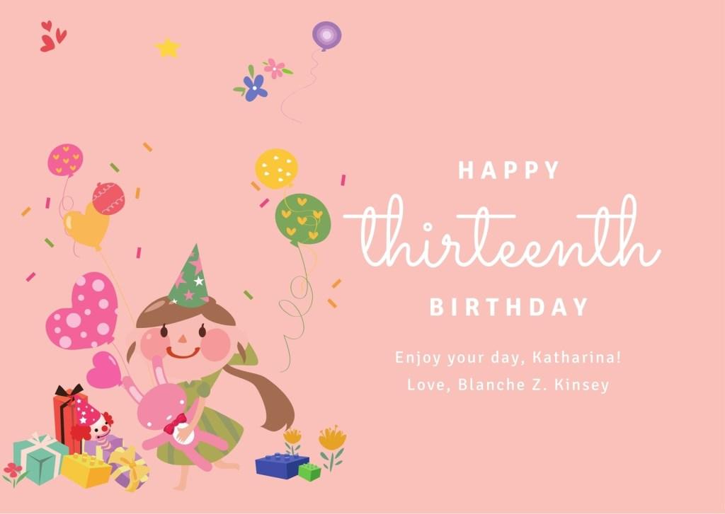 peach illustrated birthday girl birthday card templates