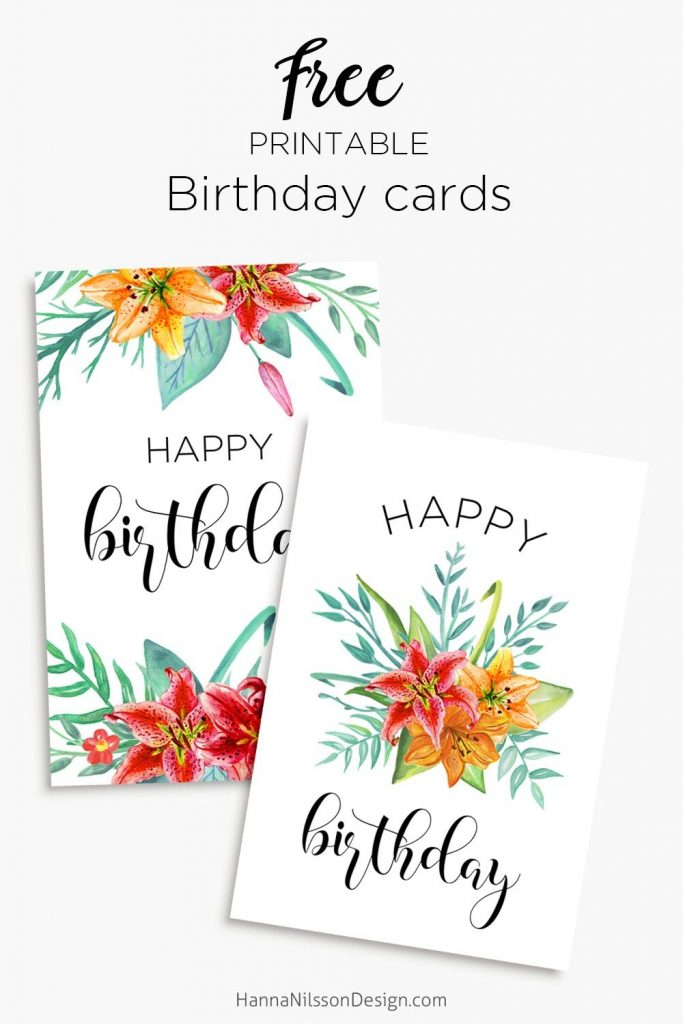 printable floral birthday cards tags gift box free
