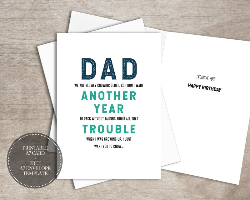 printable funny birthday card instant download digital greeting card for him father dad gift for men trouble