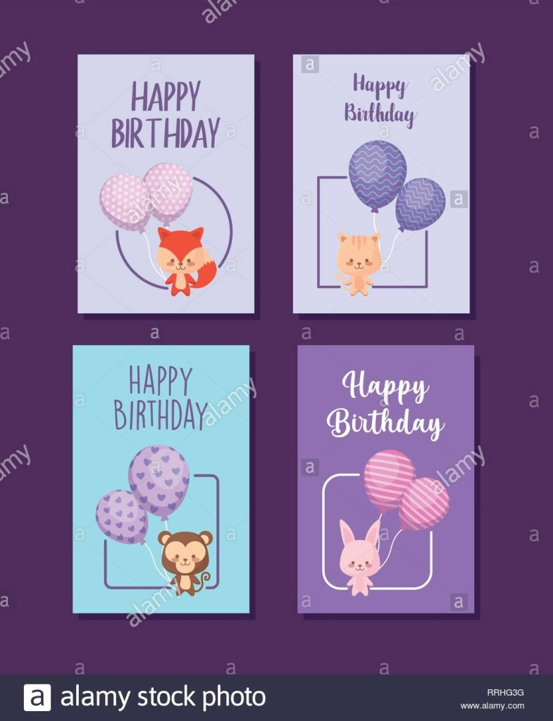 satz von happy birthday cards mit niedlichen tieren vector