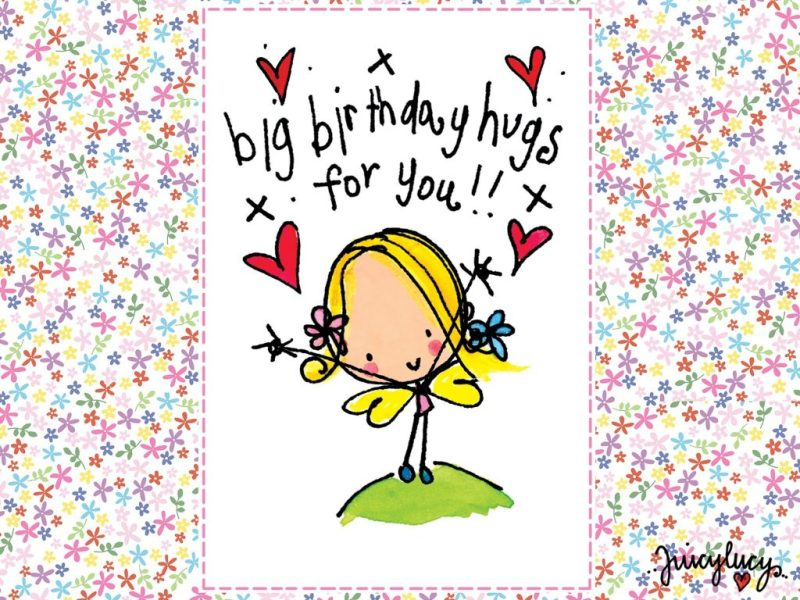 send a birthday hug with our juicy lucy animated card on