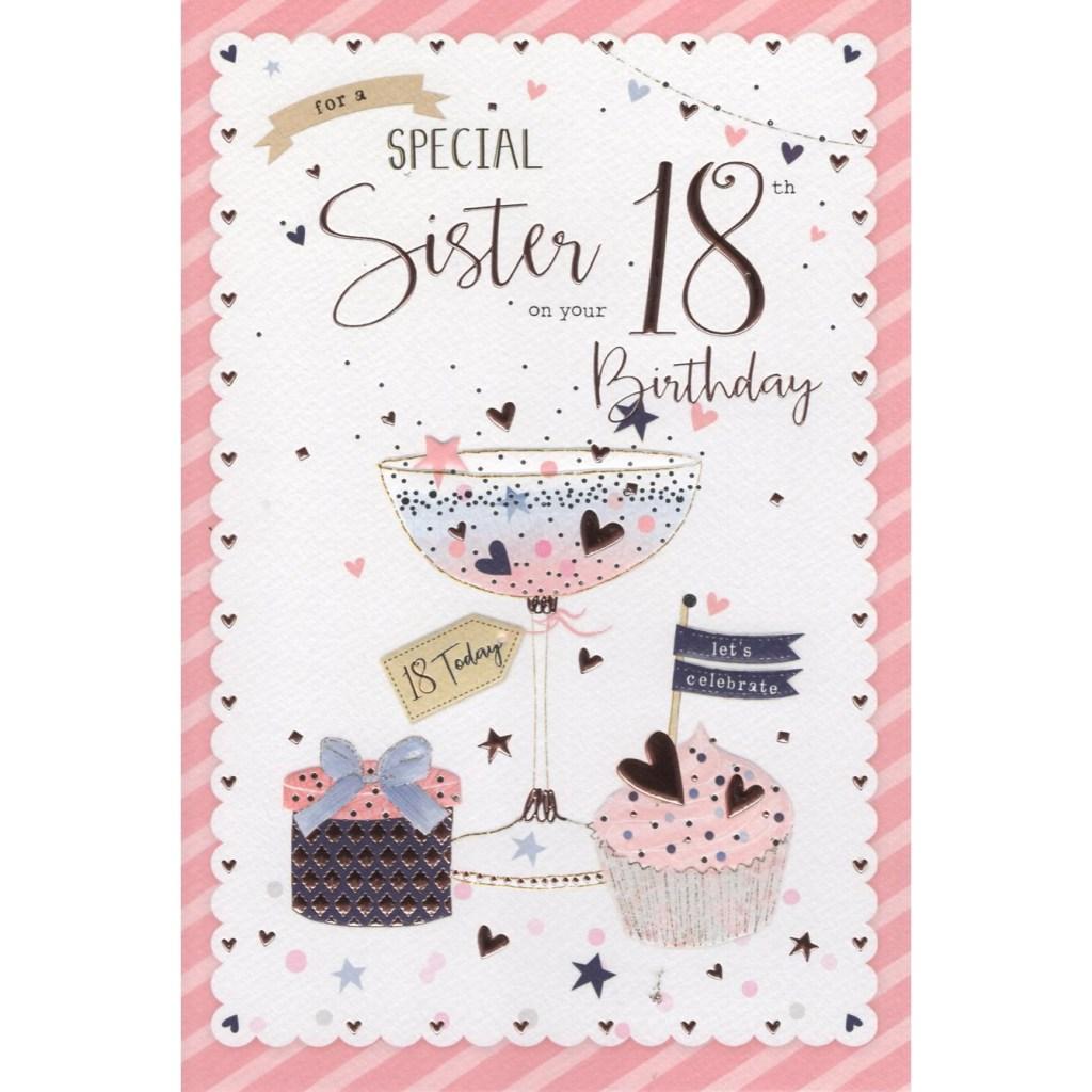 sister 18th birthday card 7480