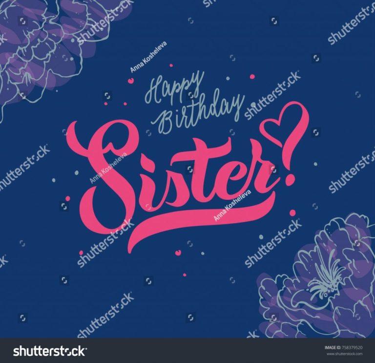 vector illustrationhappy birthday sister typography vector