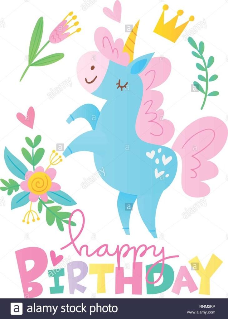 vektor happy birthday cards mit cartoon einhorn charakter
