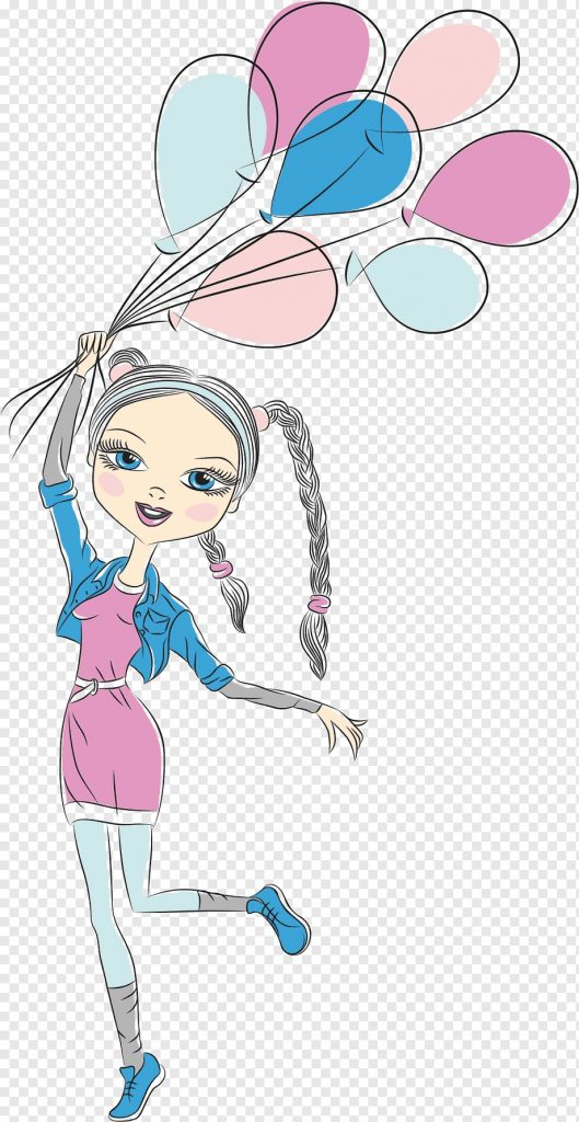 woman holding balloons animated illustration birthday wish
