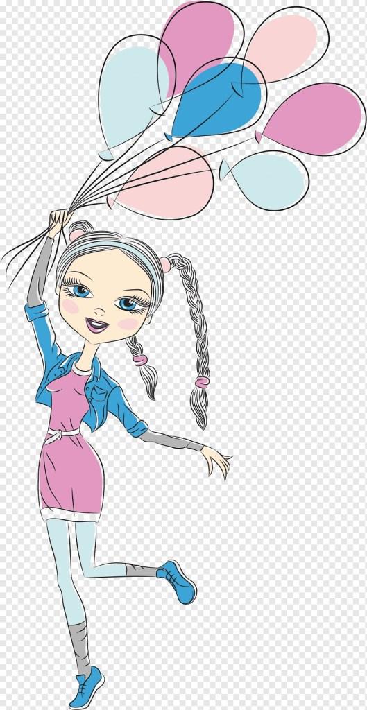 woman holding balloons animated illustration birthday wish