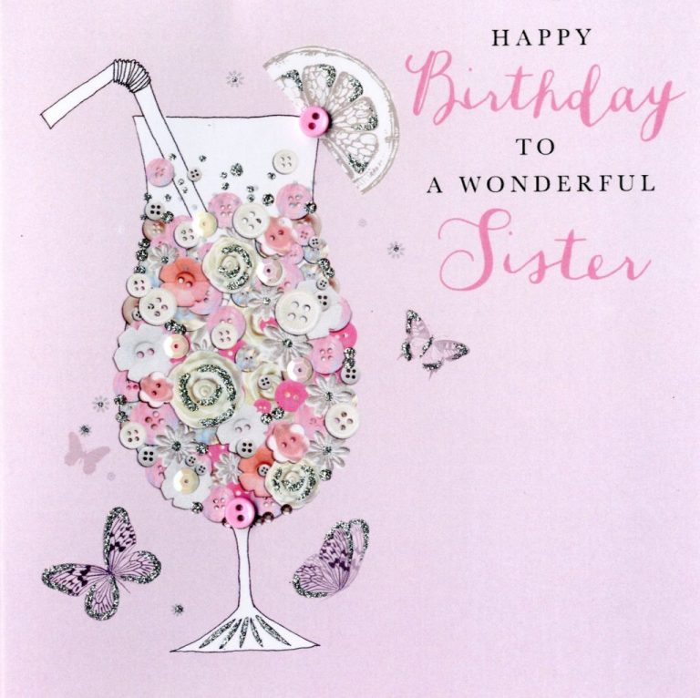 wonderful sister birthday buttoned up greeting card