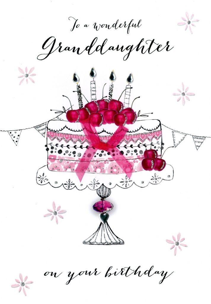 wonderul granddaughter birthday embellished greeting card