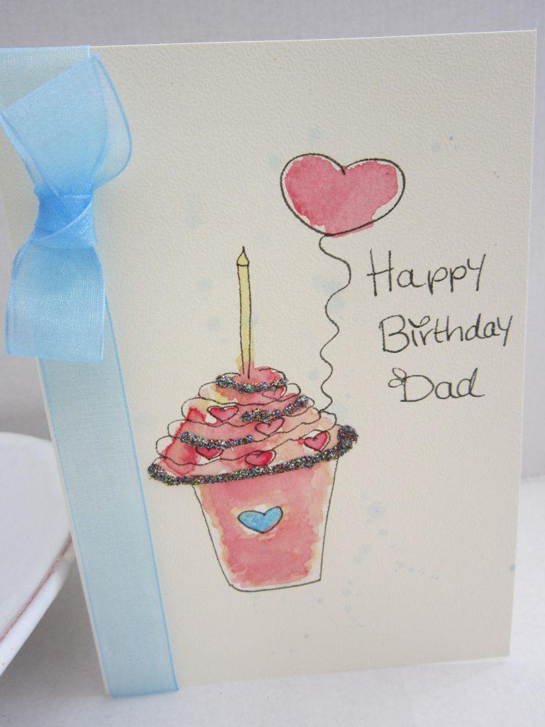 dad card daddy card birthday card watercolour card daddy
