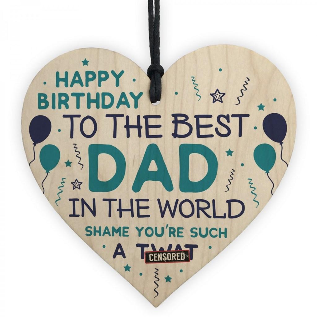 funny happy birthday gift for dad wood heart dad birthday card