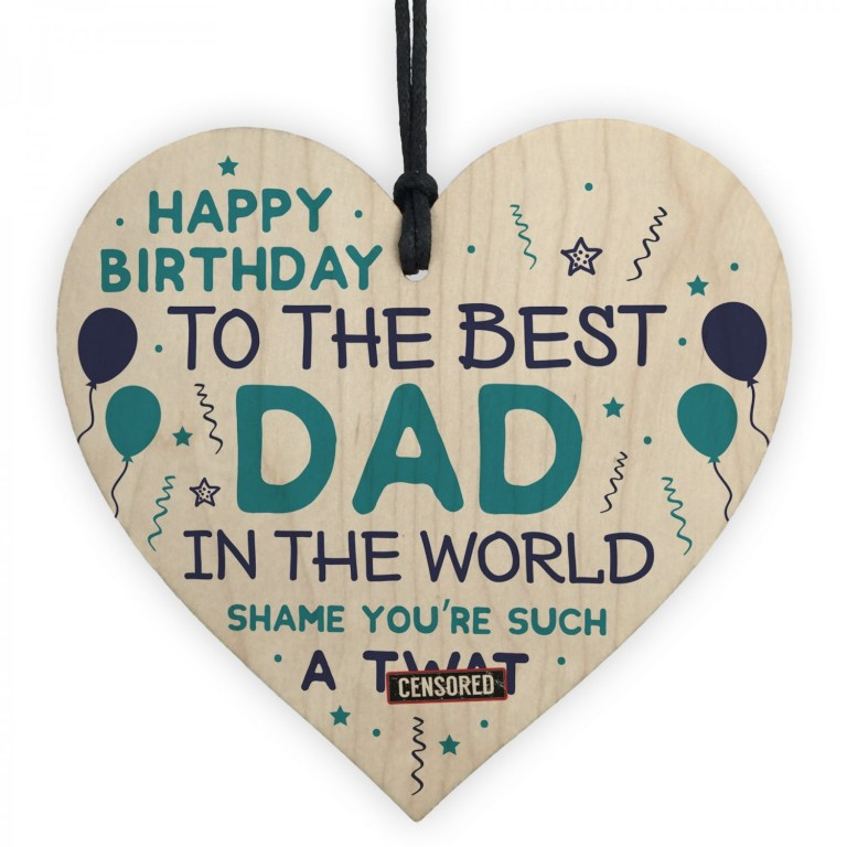 funny happy birthday gift for dad wood heart dad birthday card