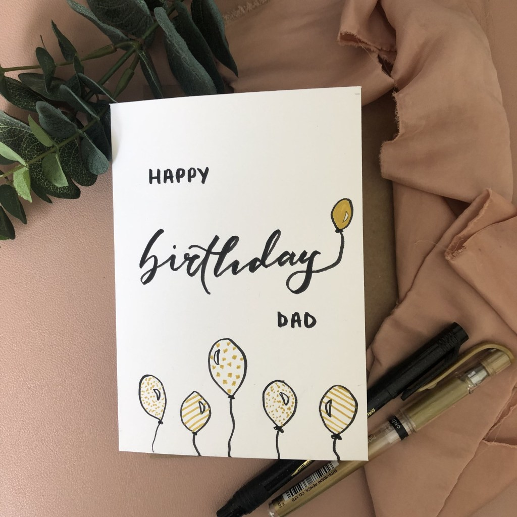 happy birthday dad balloons design handmade birthday card