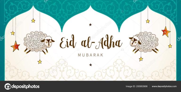 eid adha card banner sheeps