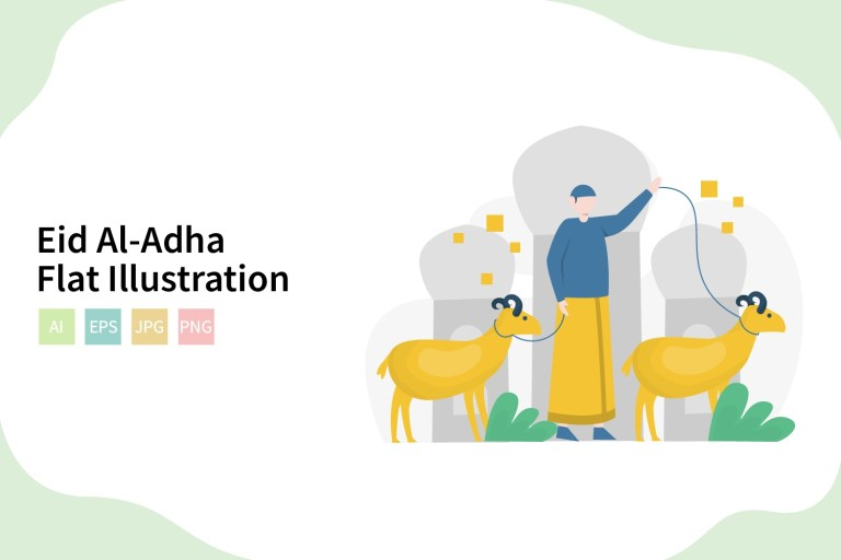 eid al adha vector flat illustratration
