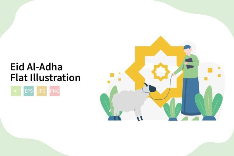 flat eid al adha vector illustratration