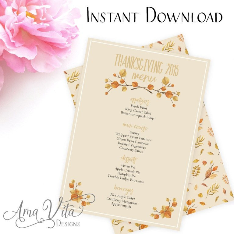 printable thanksgiving menu template 2020