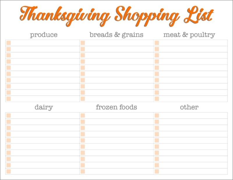 printable thanksgiving shopping list planners