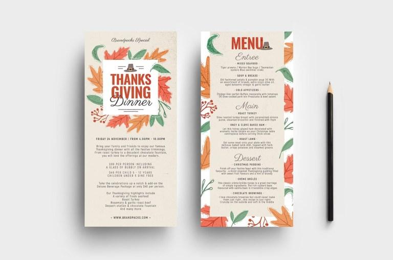 thanksgiving dl menu template psd ai vector