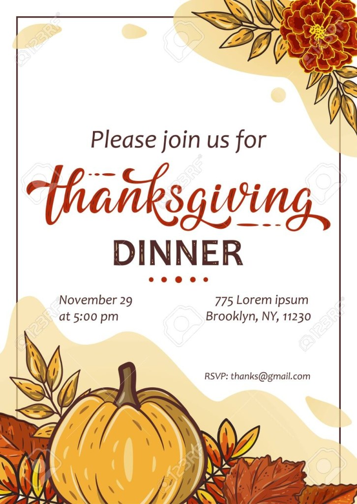 thanksgiving invitation with pumpkins leaves and handwritten