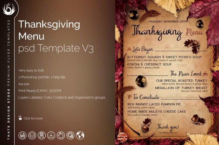 thanksgiving menu psd template