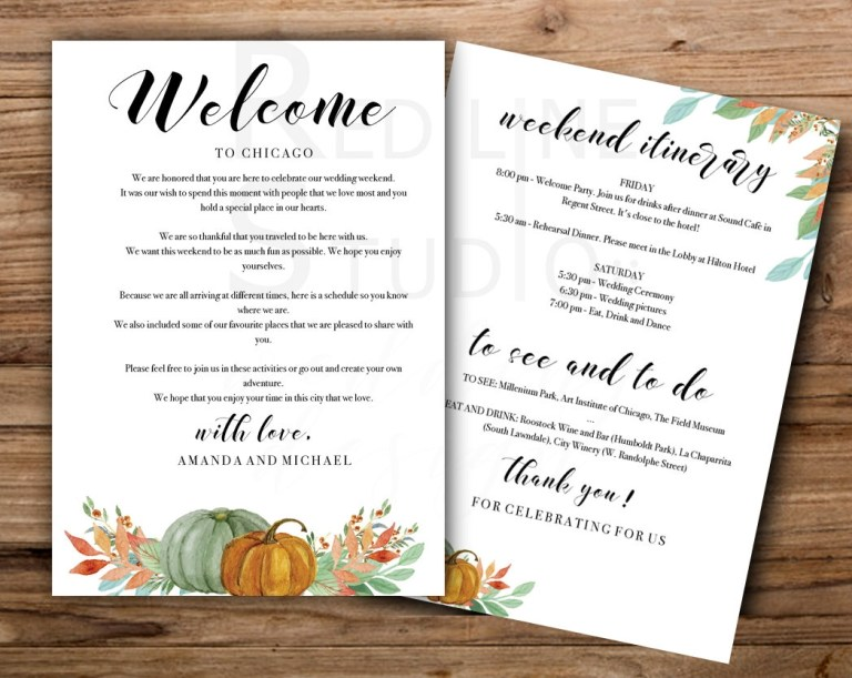 autumn pumpkins weekend wedding welcome