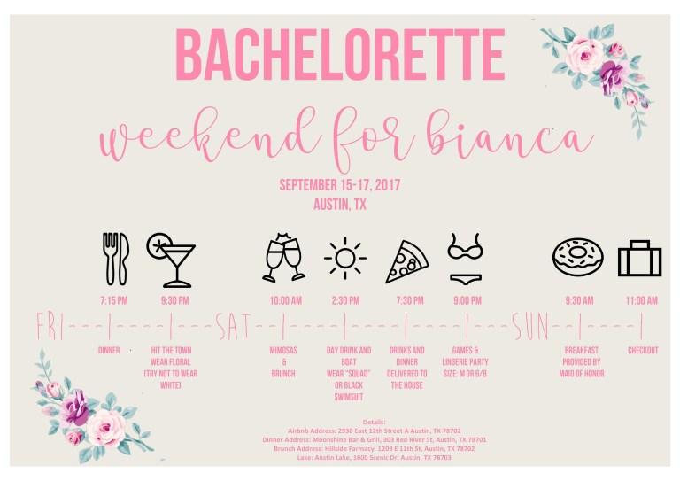 bachelorette party agenda