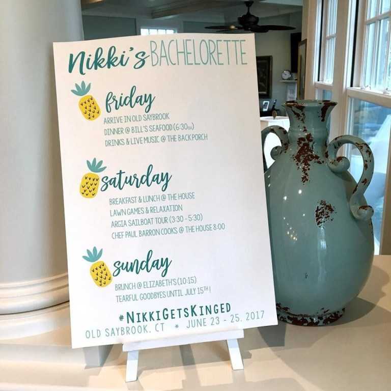 bachelorette party itinerary sign beach bach