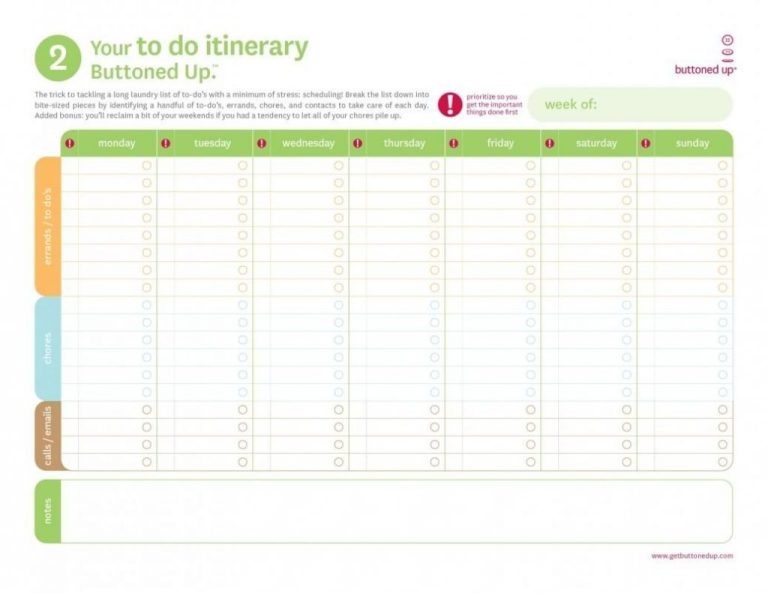 excel to do itinerary sample