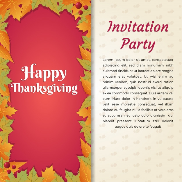 happy thanksgiving invitation party card