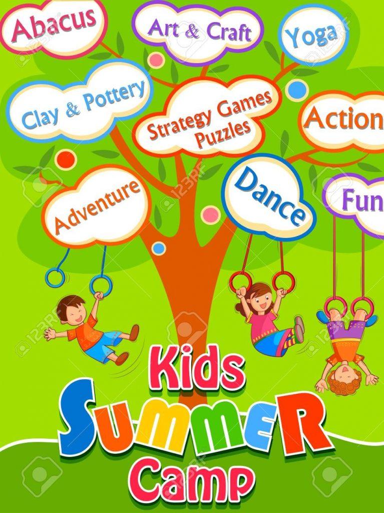 kids camp activities banner design