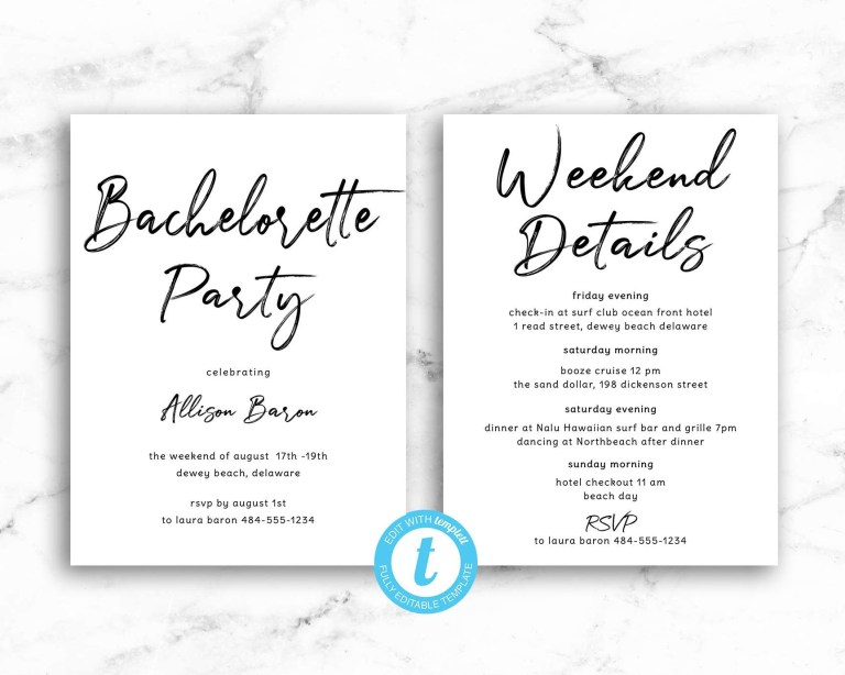 party invitation and itinerary detail