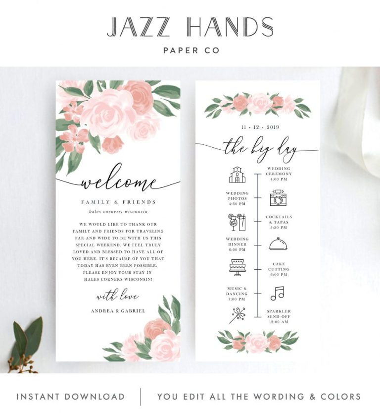 pink and coral floral itinerary template