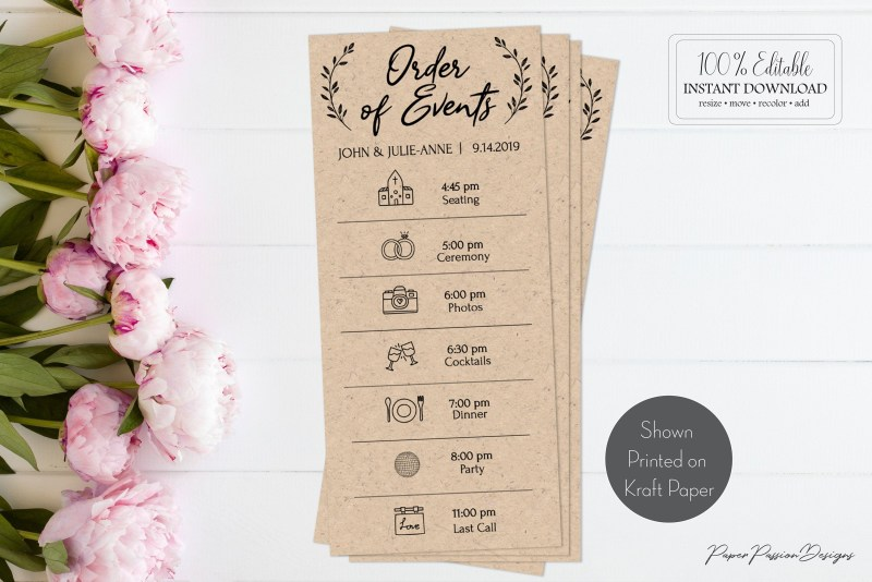 rustic wedding schedule of events card