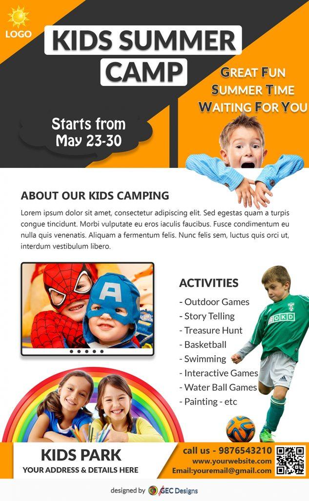 sporty fun kids summer camp newsletter template