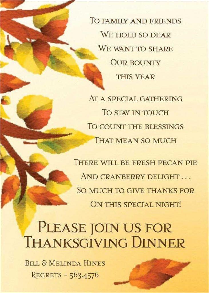 thanksgiving invitation letter