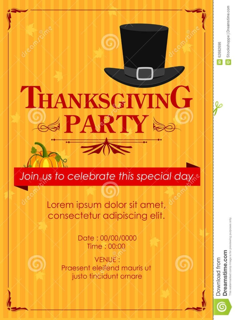 thanksgiving party invitation vector