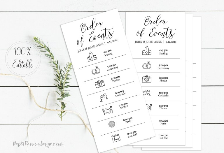 wedding events card schedule