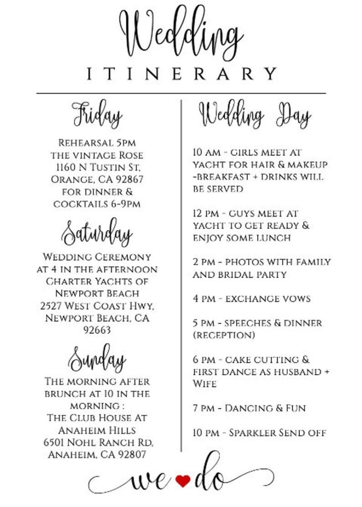 wedding itinerary template printable