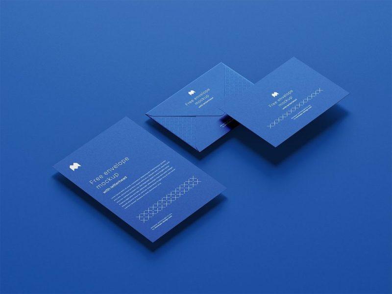 blue envelope mockup