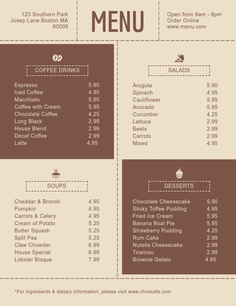brown cafe menu template