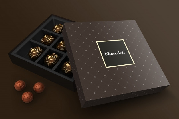 chocolate box mockup premium psd file